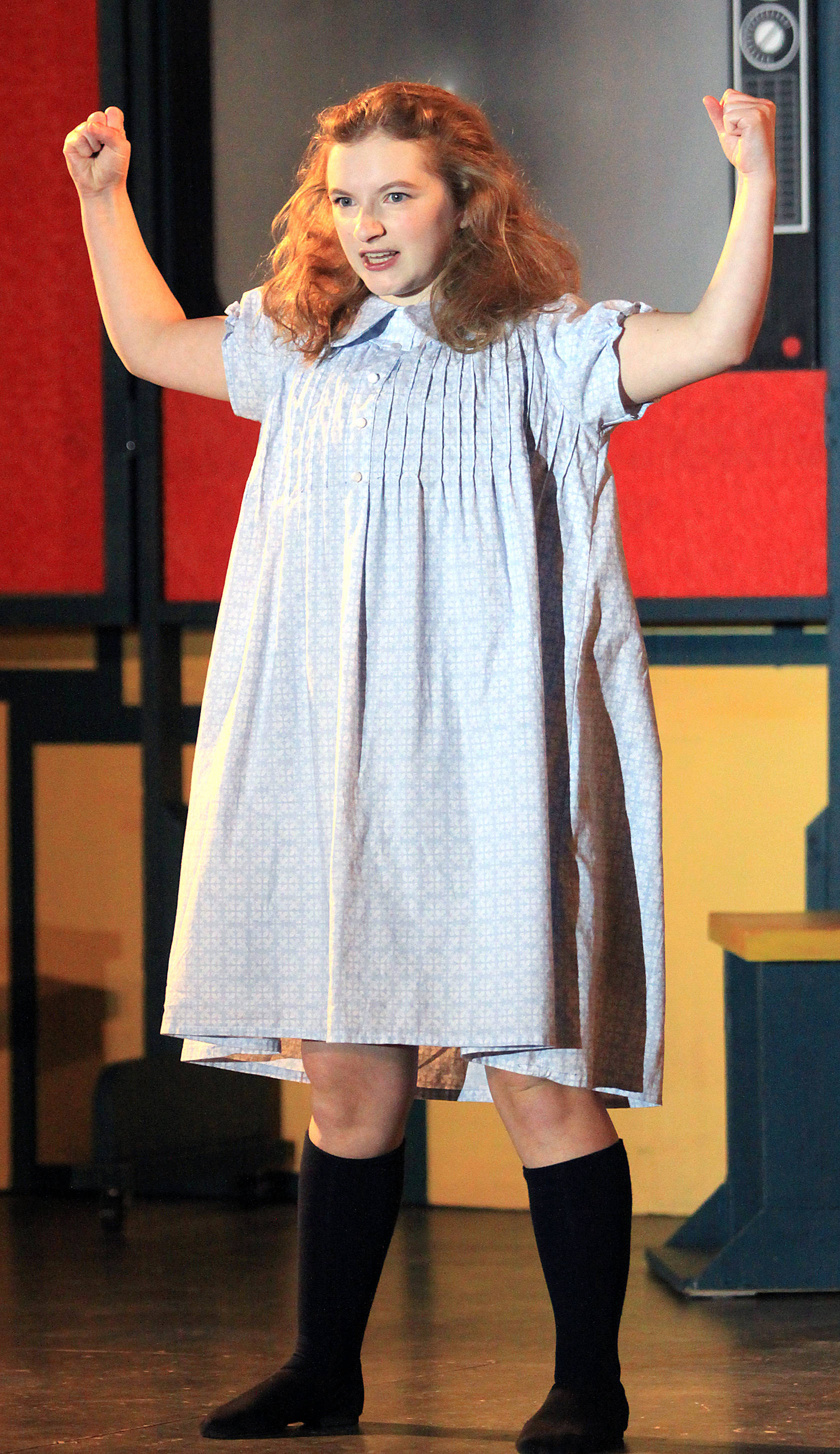 Matilda (Emma Webovesky) shows she will be strong and demonstrate courage in going to school as she sings Naughty in the opening act of the Bashaw Community Theatre's production of Matilda The Musical at the Bashaw United Church Nov. 21.                                Photos by Jordie Dwyer